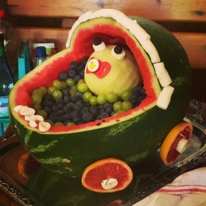 Baby Carriage Fruit Carving for the Win!